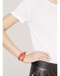 Alexander McQueen - Red Two-tone Leather Wrap Bracelet - Lyst