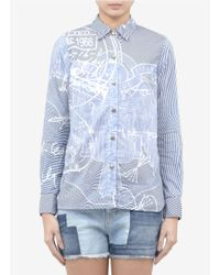 Current/Elliott | Blue X Mary Katrantzou Printed Cotton Shirt | Lyst