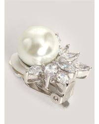 CZ by Kenneth Jay Lane - White Pearl-and-crystal Clasp Earrings - Lyst