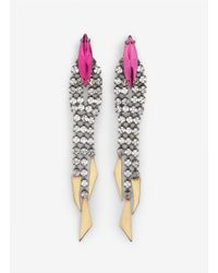 Iosselliani - Pink Carved-detail Crystal Earrings - Lyst