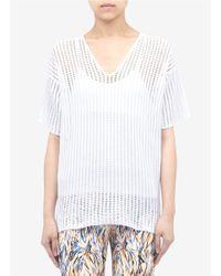 Stella McCartney - White Cotton-knit Mesh Top - Lyst