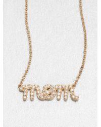 Sydney Evan | Metallic Diamond & 14k Yellow Gold Mom Necklace | Lyst