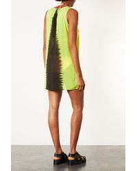 TOPSHOP - Yellow Chartreuse Tie Dye Cover Up - Lyst