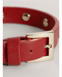 Valentino - Red Studded Narrow Leather Bracelet - Lyst