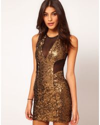 ASOS Collection - Black Asos Sequin Mesh Dress in Bengaline - Lyst