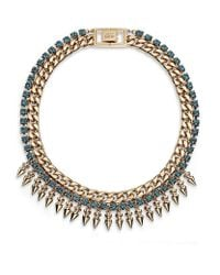Mawi | Pink Crystal and Spike Necklace | Lyst