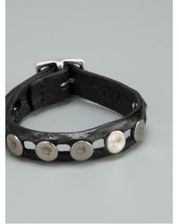 Orciani - Black Studded Leather Bracelet for Men - Lyst