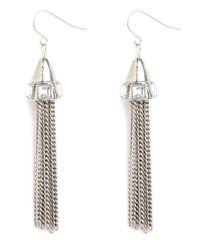 BaubleBar - Metallic Silver Deco Tassel Earrings - Lyst
