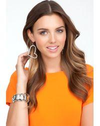 Bebe - Metallic Sideways Heart Hoop Earrings - Lyst