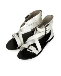TOPSHOP - White Cuff Cross Strap Sandals - Lyst