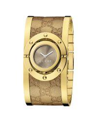 Gucci | Metallic Ya112434 Women'S Leather Bangle Cuff Watch | Lyst