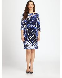 Kay Unger - Blue Animal-Print Dress - Lyst