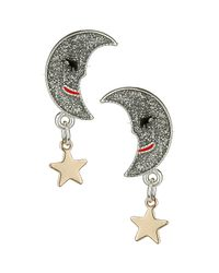TOPSHOP - Metallic Mini Moon and Star Earrings - Lyst