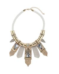 TOPSHOP - Metallic Rhinestone and Stick Collar - Lyst