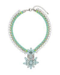TOPSHOP - Green Premium Rhinestone Cluster Necklace - Lyst