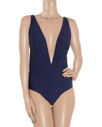 Miu Miu | Blue Plungefront Swimsuit | Lyst