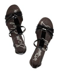 Sam Edelman - Black Fiera Snakeeffect Leather Sandals - Lyst