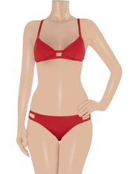 Violet Lake - Red Volpe Triangle Bikini Top - Lyst