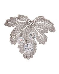 CZ by Kenneth Jay Lane | Gray Pave Cubic Zirconia Flat Leaf Pin | Lyst