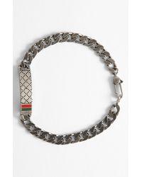 Gucci | Metallic Diamante Pattern Sterling Silver Bracelet for Men | Lyst