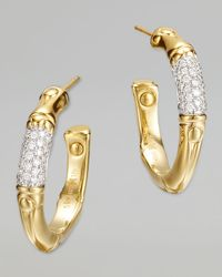 John Hardy | Metallic Bamboo 18k Gold Pave Diamond Small Hoop Earrings | Lyst