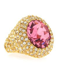 Kenneth Jay Lane | Faceted Pink Crystal Pave Adjustable Ring | Lyst
