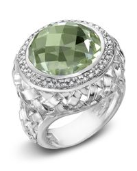 Slane - Green Amethyst Diamond Ring - Lyst