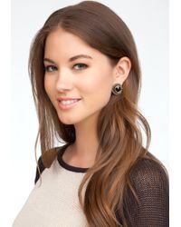 Bebe - Brown Oversized Faceted Stone Stud Earrings - Lyst