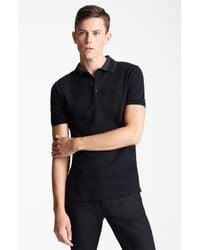 Burberry | Black Adler Check Placket Cotton Polo for Men | Lyst