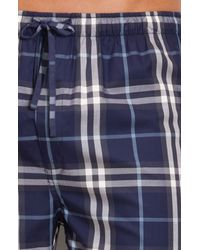Burberry | Blue Check Pajama Pants for Men | Lyst