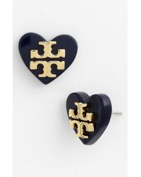 Tory Burch | Blue Tilsim Logo Heart Stud Earrings | Lyst