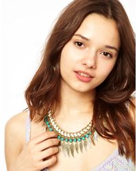 River Island - Green Angel Wing Necklace - Lyst
