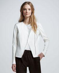 Vince | White Leather Sleeve Asymmetric Jacket | Lyst