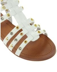 Lyst Aldo Brigida White Stud Gladiator Sandals In White