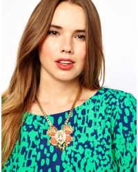 ASOS | Pink Curve Boxchain Collar Necklace with Bug | Lyst