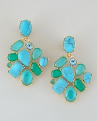 Kate Spade | Blue Crystal Cluster Bib Clip Earrings Turquoise | Lyst