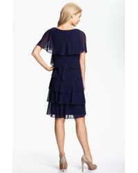 Patra   Blue Beaded Edge Layered Chiffon Dress   Lyst