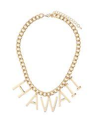 TOPSHOP - Metallic Hawaii Word Metal Collar - Lyst