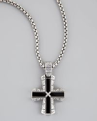 Stephen Webster | Metallic Silver Onyx Cross Pendant Necklace | Lyst