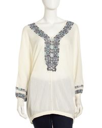 Joie - Natural Bahamas Embroidered Tunic Vintage Porcelain Small - Lyst