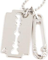 McQ Metallic Razor Pendant Necklace for men