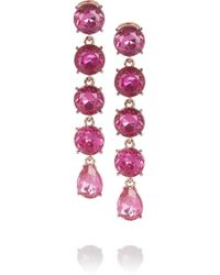 Oscar de la Renta | Pink Rose Goldplated Crystal Drop Earrings | Lyst