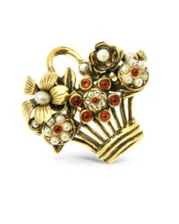 Alcozer & J - Metallic Flower Bouquet Brooch - Lyst