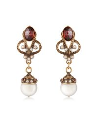 Alcozer & J | Metallic Gemstone and Pearl Drop Earrings | Lyst