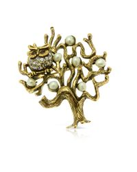 Alcozer & J - Metallic Tree with Owl Brooch - Lyst