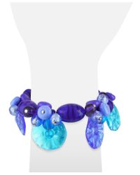 Antica Murrina Green Encanto Murano Glass Flower Bead Bracelet