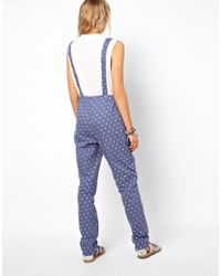 ASOS - Blue Dungarees in Chambray Spot - Lyst