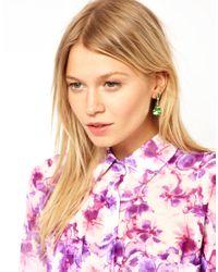 ASOS - Green Teardrop Earrings - Lyst