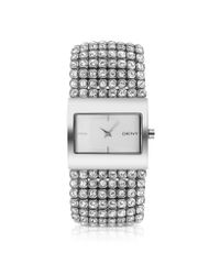 DKNY | Metallic Crystal Frame Bracelet Watch | Lyst