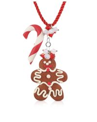 Dolci Gioie - Red Candy Cane & Gingerbread Man Necklace - Lyst